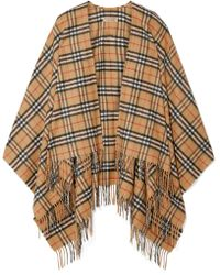 Burberry - Fringed Checked Cashmere And Merino Wool-blend Wrap - Lyst