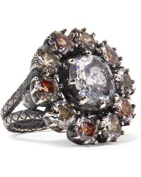 Bottega Veneta - Oxidized Silver, Glass And Cubic Zirconia Ring - Lyst