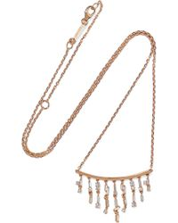 Suzanne Kalan - 18-karat Rose Gold Diamond Necklace - Lyst