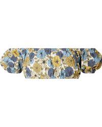 Lisa Marie Fernandez - Leandra Off-the-shoulder Floral-print Stretch-denim Bikini Top - Lyst