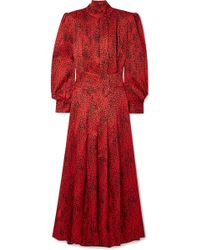 Alessandra Rich - Leopard-print Silk-jacquard Maxi Dress - Lyst