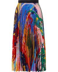Mary Katrantzou - Printed Plissé-chiffon Midi Skirt - Lyst