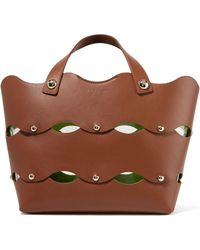 Sara Battaglia - Clarissa Studded Scalloped Leather Tote - Lyst