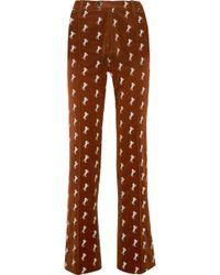 Chloé - Embroidered Cotton-blend Velvet Straight-leg Pants - Lyst