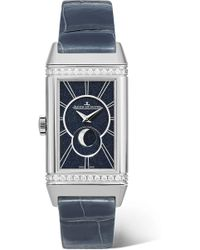 Jaeger-lecoultre - Reverso One Duetto Moon 20mm Stainless Steel, Diamond And Alligator Watch - Lyst