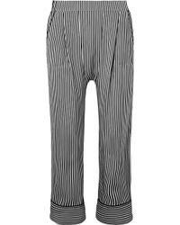 The Great - The Pyjama Cropped Striped Silk Wide-leg Pants - Lyst