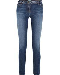 KENZO - Printed Mid-rise Skinny Jeans - Lyst