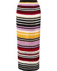 Carolina Herrera - Pleated Striped Knitted Maxi Skirt - Lyst
