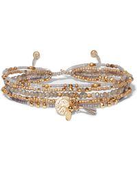 Chan Luu - Gold-tone Beaded Wrap Bracelet - Lyst