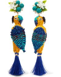 Mercedes Salazar - Tropic Parrot Gold-tone, Woven And Tasseled Clip Earrings - Lyst