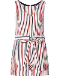 MDS Stripes - Amanda Striped Cotton-jersey Playsuit - Lyst