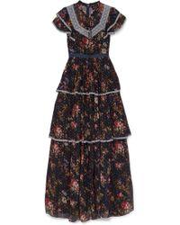 Needle & Thread - Robe Du Soir En Mousseline Imprimée, Fil Coupé Et Broderie Anglaise Winter Forest - Lyst