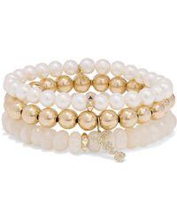 Sydney Evan - Love Set Of Three 14-karat Gold Multi-stone Bracelets - Lyst