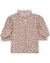 Prada - Ruffled Floral-print Silk Crepe De Chine Blouse - Lyst