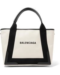 7a7310ea9554 Balenciaga - Cabas Small Leather-trimmed Canvas Tote - Lyst