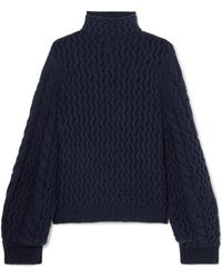 Victoria, Victoria Beckham - Cable-knit Turtleneck Sweater - Lyst