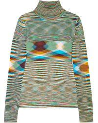 Missoni - Striped Crochet-knit Turtleneck Sweater - Lyst