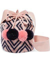Sophie Anderson - Lila Pompom-embellished Woven Bucket Bag - Lyst