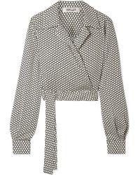 Diane von Furstenberg - Cropped Printed Stretch-silk Wrap Top - Lyst