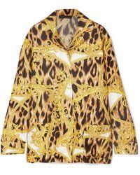 Versace - Printed Silk-twill Pyjama Top - Lyst
