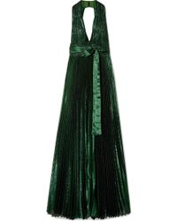 Elie Saab - Open-back Pleated Silk-blend Lamé Gown - Lyst