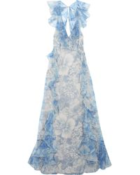 Alice McCALL - Oh My Goddess Open-back Ruffled Floral-print Silk-organza Gown - Lyst