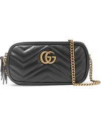 35f86c1073c1 Gucci - Gg Marmont Mini Quilted Leather Shoulder Bag - Lyst