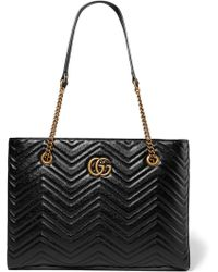 Gucci - GG Marmont Medium Leather Tote - Lyst