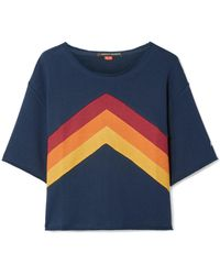 Perfect Moment - Cropped Paneled Cotton-jersey T-shirt - Lyst