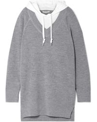 T By Alexander Wang - Hooded Layered Wool And Cotton-blend Jersey Mini Dress - Lyst
