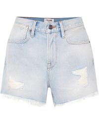FRAME - Le Stevie Distressed High-rise Denim Shorts - Lyst