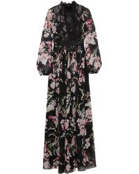 Giambattista Valli - Lace-trimmed Floral-print Silk-chiffon Maxi Dress - Lyst
