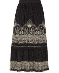 Anna Sui - Fountains Of Fancy Printed Fil Coupé Silk-blend Chiffon Maxi Skirt - Lyst