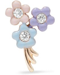 Alison Lou - Daisy Bouquet Enameled 14-karat Gold Diamond Earring - Lyst