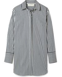 By Malene Birger - Isadora Oversized Striped Cotton-blend Shirt - Lyst