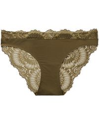 Hanro - Laila Lace-trimmed Stretch-satin Briefs - Lyst