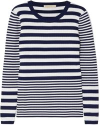 MICHAEL Michael Kors - Striped Ribbed Stretch-knit Jumper - Lyst
