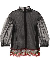 Simone Rocha Floral-embroidered Tulle Blouse