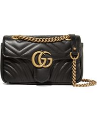 799763f815d59 Lyst - Gucci Gg Marmont Medium Quilted Leather Shoulder Bag in Black