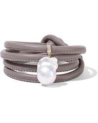 Mizuki - Bracelet Tour De Poignet En Or 14 Carats, Cuir Et Perle - Lyst