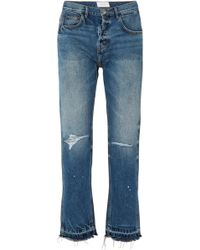 Current/Elliott - The Throwback Original Distressed High-rise Straight-leg Jeans - Lyst