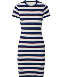 James Perse - Striped Cotton-jersey T-shirt Dress - Lyst
