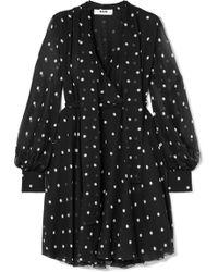 MSGM - Pussy-bow Polka-dot Silk-chiffon Dress - Lyst