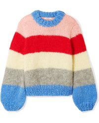Ganni | Julliard Striped Mohair And Wool-blend Jumper | Lyst