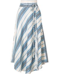 Apiece Apart - Rosehip Wrap-effect Striped Linen And Silk-blend Skirt - Lyst