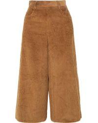 See By Chloé - Cropped Cotton-blend Corduroy Wide-leg Pants - Lyst