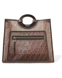 Fendi - Leather-trimmed Printed Mesh Tote - Lyst