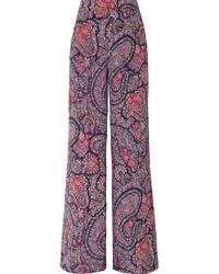 Etro - Printed Silk Crepe De Chine Wide-leg Pants - Lyst