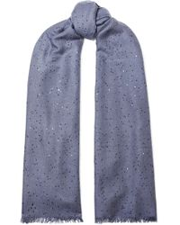 Brunello Cucinelli - Sequined Cashmere And Silk-blend Scarf - Lyst