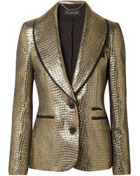 Rachel Zoe - Becca Grosgrain-trimmed Metallic Croc-effect Jacquard Blazer - Lyst